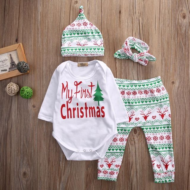 My First Christmas Infant Baby Boy Girl Outfits Clothes Romper Pants  Leggings Hat Headband 4PCS Set - My First Christmas Infant Baby Boy Girl Outfits Clothes Romper Pants