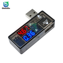 цена на Three-digit Display USB Current Voltage Measuring Meter Tester Instrument Tool Red Blue Double Display USB Ammeter Voltmeter