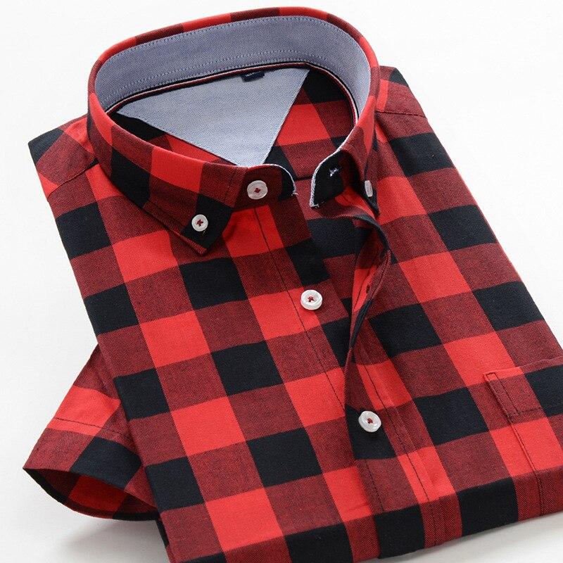5XL 6XL 7XL 8XL 9XL 10XL Big Size Plaid Shirt 2020 New Brand Clothing High Quality Cotton Business Casual Short Sleeve Shirt