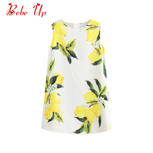 Toddler Girl Cotton Summer Dress Lemon Pattern Little Girl Sleeveless White A-line Party Dress Children Spring Summer Clothing