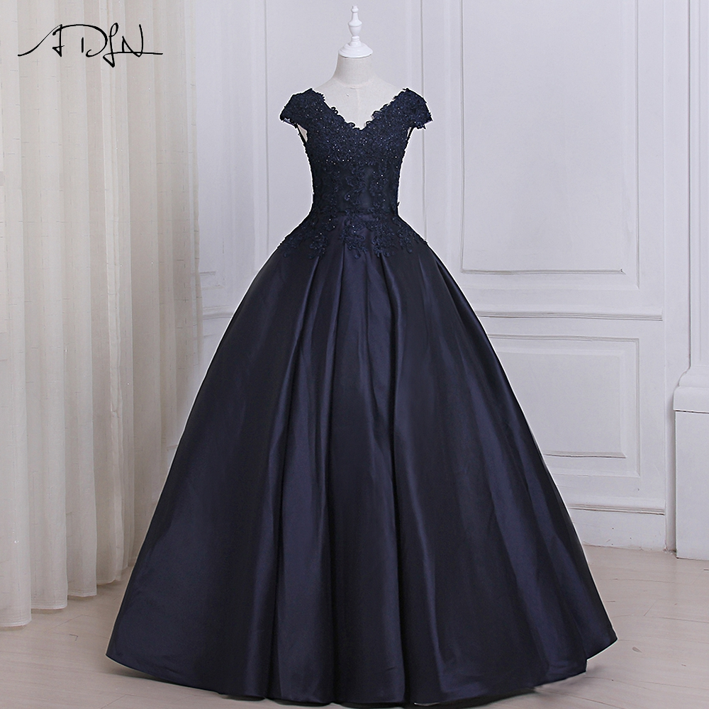 ADLN Cap Sleeve Beaded Ball Gown Prom Dresses Real Picture Satin Floor  Length Sleeveless Puffy Long 06dfed434e1b