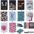 Flower Tree Cat Feather Painted Stand Flip PU Leather case For iPad 2 iPad 3 iPad 4 smart cover For Apple iPad 2 3 4 Cases #1