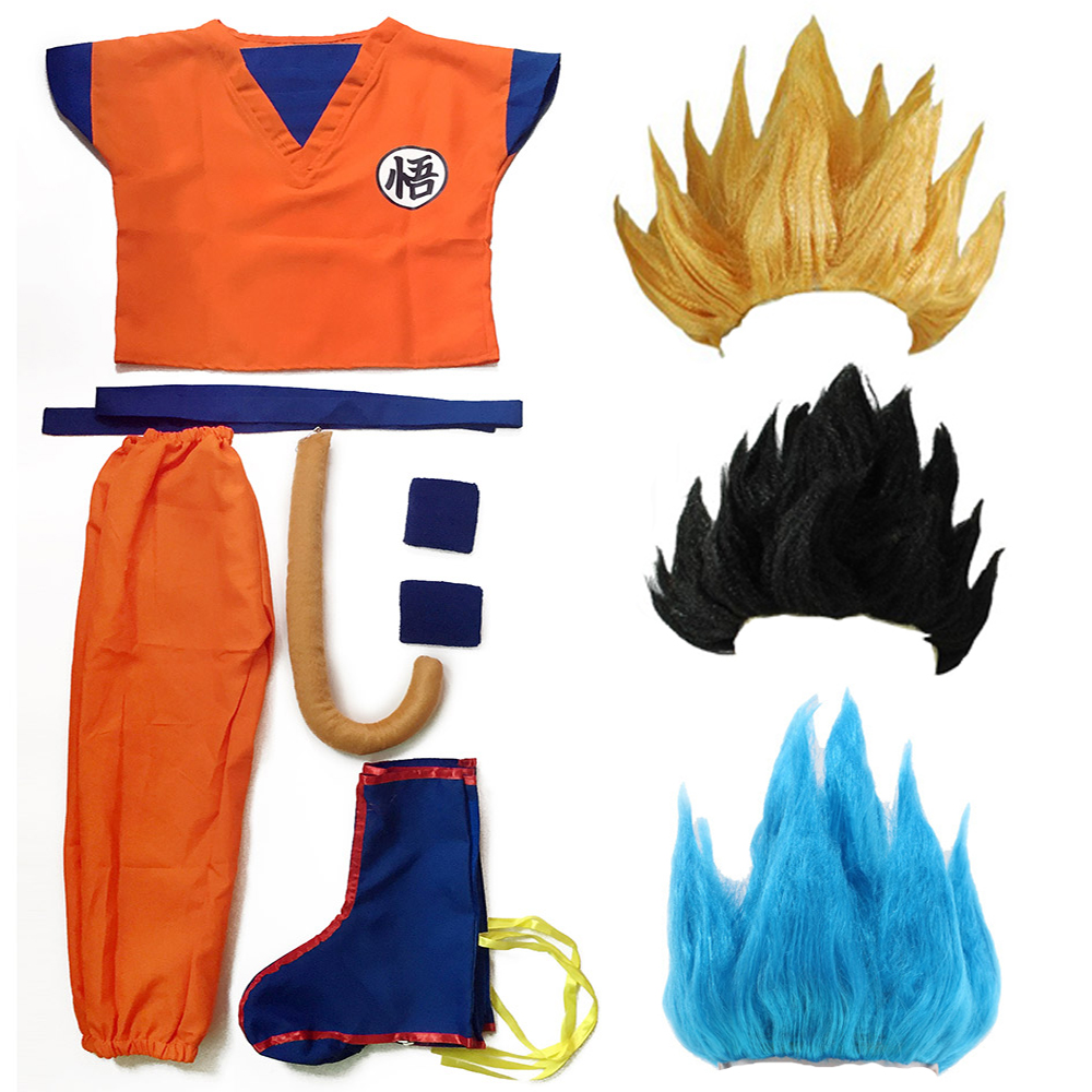 Dragon Ball Z Clothes Suit Son Goku Cosplay Costumes Top/Pant/Belt/Tail/wrister/Wig For Adult Kids 6 SIZE Children's Day Gift(China)