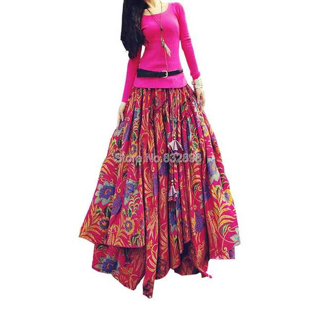 ae5e645db8 Top Sale Long Flowing Thick Cotton Multicolor Print Skirts Bohemia Style  Ethnic Print Linen Red Skirt