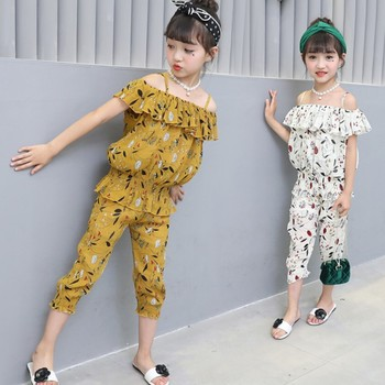 2018 summer print casual sports girl suit toddler floral short set tracksuit for girl 10 12 years girls clothes teenagers kids
