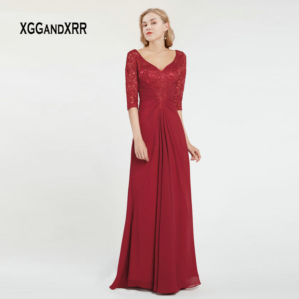 Elegant Mother Of Bride Dress 2019 Half Sleeves Long Evening Dress Sexy V Neck Lace Applique Pleats Chiffon Formal Party Gowns