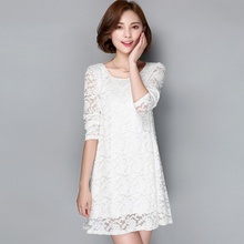 2017 new design fashion Maternity lace one-piece dress spring autumn long-sleeve medium-long plus size loose 200 basic shirt