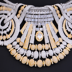 Image 4 - missvikki 4 PCS Noble Luxury Gorgeous Necklace Bangle Earrings Ring Jewelry Set for Bridal Actor Dancer Accessories Jewelry