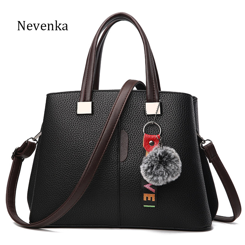 Nevenka Women PU Leather Handbags High Quality Shoulder Bags with Fluffy Balls Solid Crossbody Bag for Girls Ladies Tote Bags stylish women s crossbody bag with solid