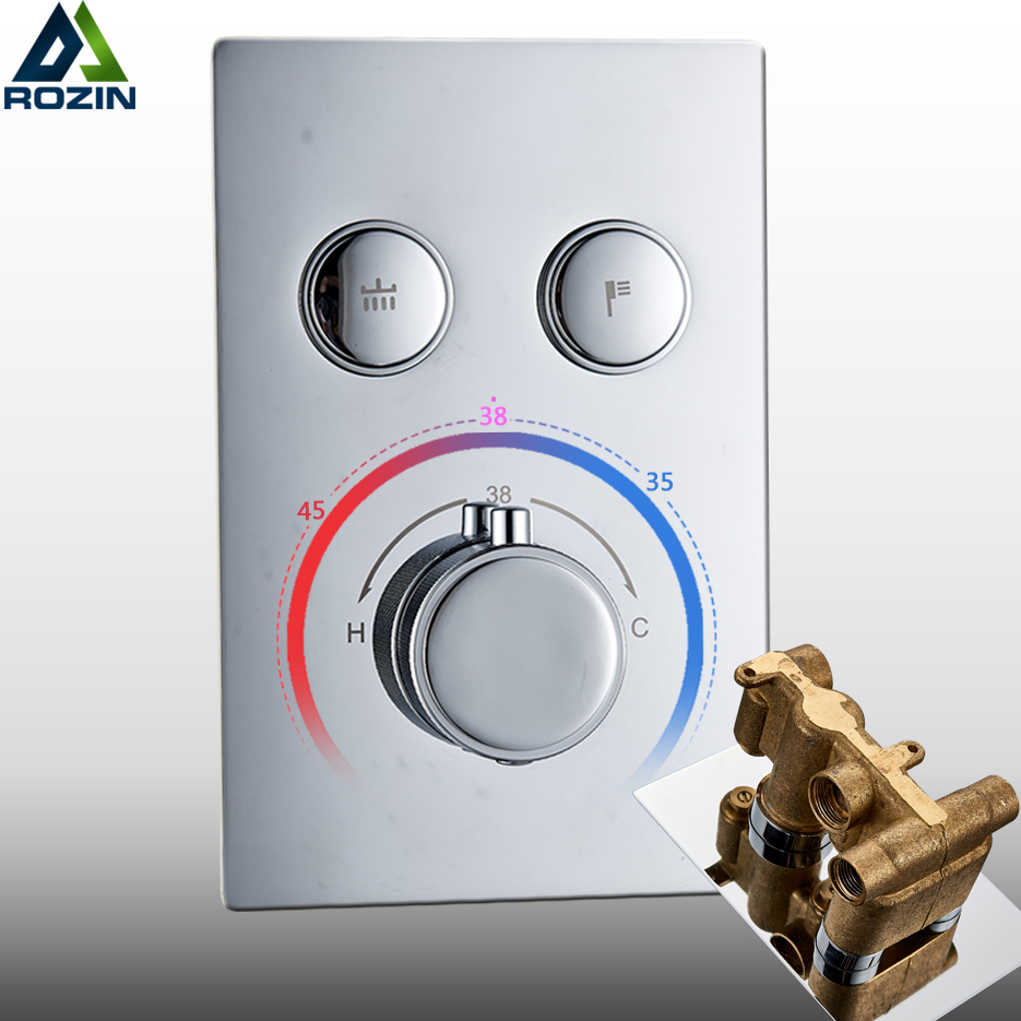 Chrome thermostatic Mixer Valve Dual Functions Bath shower Faucet control Valve temperature control shower mixer valve
