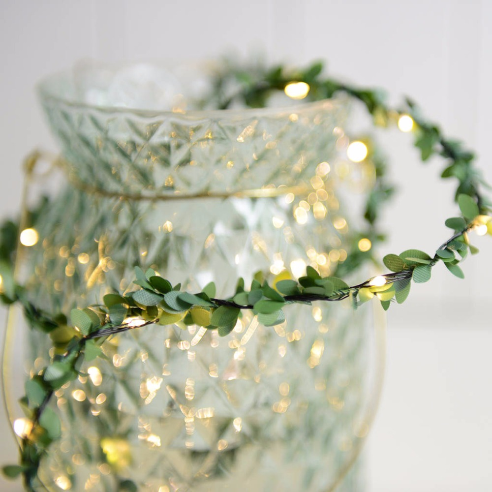 Rustic Wedding Foliage LED Copper Wire Vine String Lights For Wedding Table Decorations Tiny Leaves Christmas Party
