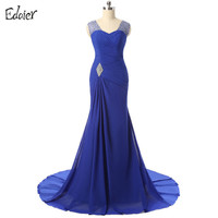 Cheap Long Mother Of The Bride Dresses 2017 Merimaid V Neck Cap Sleeve Beaded Crystal Simple