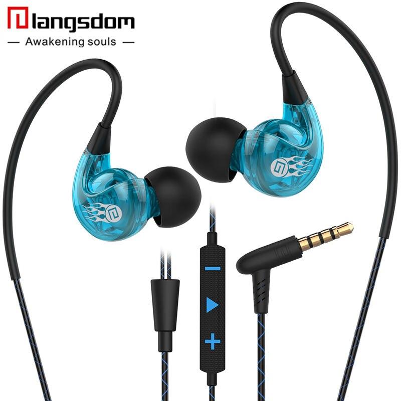 Langsdom SP90 New Waterproof Anti-sweat Anti-shedding Ear Hanging Earphones Sports Headset with Mic Volume Control Headphones