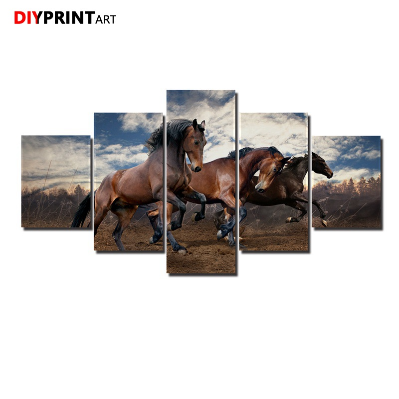 Three Horses Running in the Field 5 Pieces Art Print Animal Poster Wall Decorations Living Room A1039
