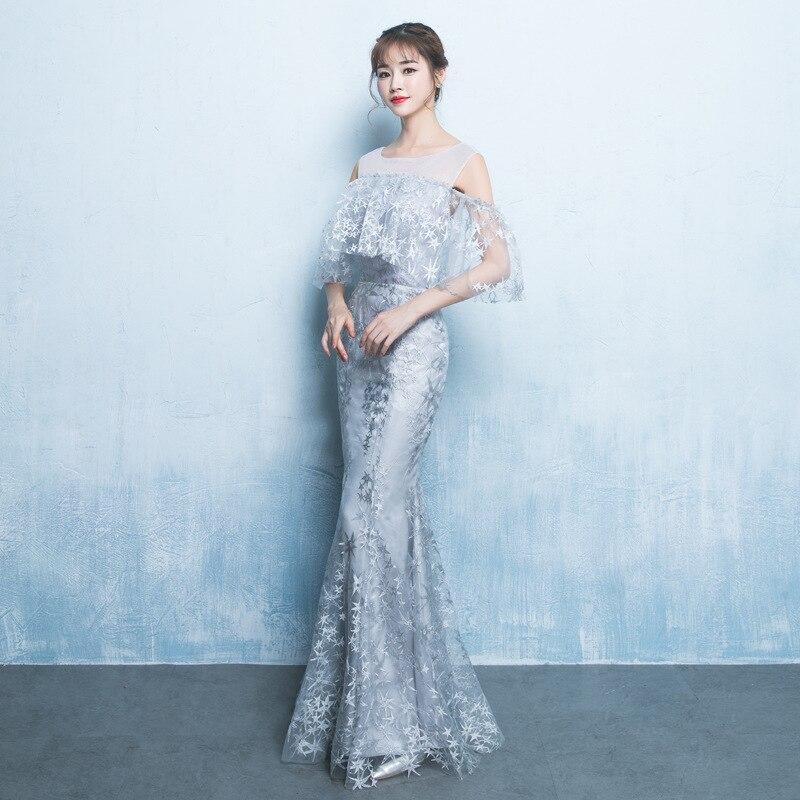 Robes de soirée en dentelle sirène argent cou transparent longueur de plancher robes de bal avec élégante Cape robe de demoiselle d'honneur ZE051 - 3