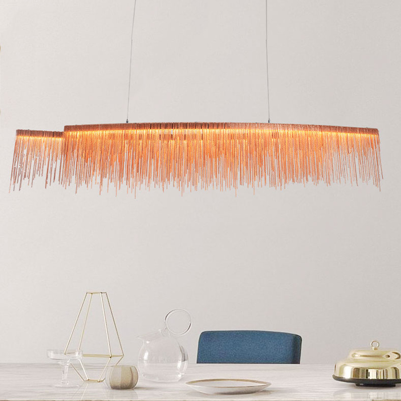 Luxury tassel aluminum chain Pendant Lights for bedroom living room lamps villa restaurant shop decorative art lamps - 6