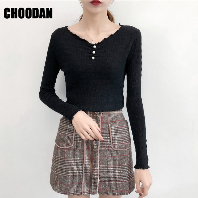a3c0e6a148dc Knitting Sweaters And Pullovers Women New Autumn Winter 2019 Peal V-neck  Fitness Basic Black Shirt Femme Korean Fashion clothing