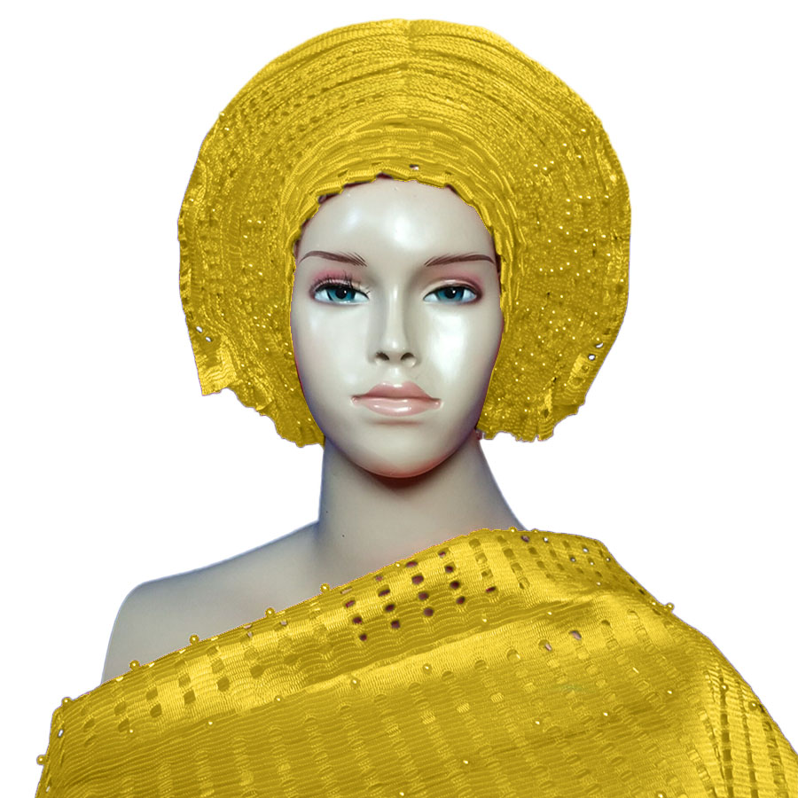 African already made aso oke fabric new design turban for women for aso ebi by DHL