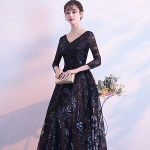 Image 4 - Weiyin 2019 חדש אלגנטי שחור ארוך ערב שמלות תחרה חצי שרוול חלוק דה Soiree ארוך Vestido דה Festa לונגו WY1407