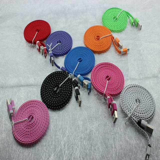 500pcs 2M/6FT Micro USB2.0 Braided noodle Sync Nylon Woven Charger cable for Samsung  S3 S4 Note 2 for Blackberry for xiaomi