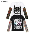 V-TREE New Boys Girls Long Sleeve T-shirt Children's Clothing Stitching Hip-hop Tattoo Pokemon Clothes For Kids Spring Tracksuit