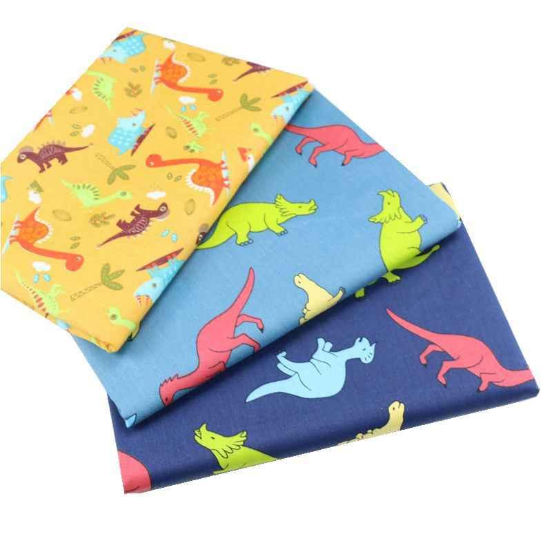160 centímetros * 50 centímetros de tecido de algodão dos desenhos animados Dinossauro cor bebê infantil vestuário vestido patchwork tecido da cama DIY crianças handwork pano