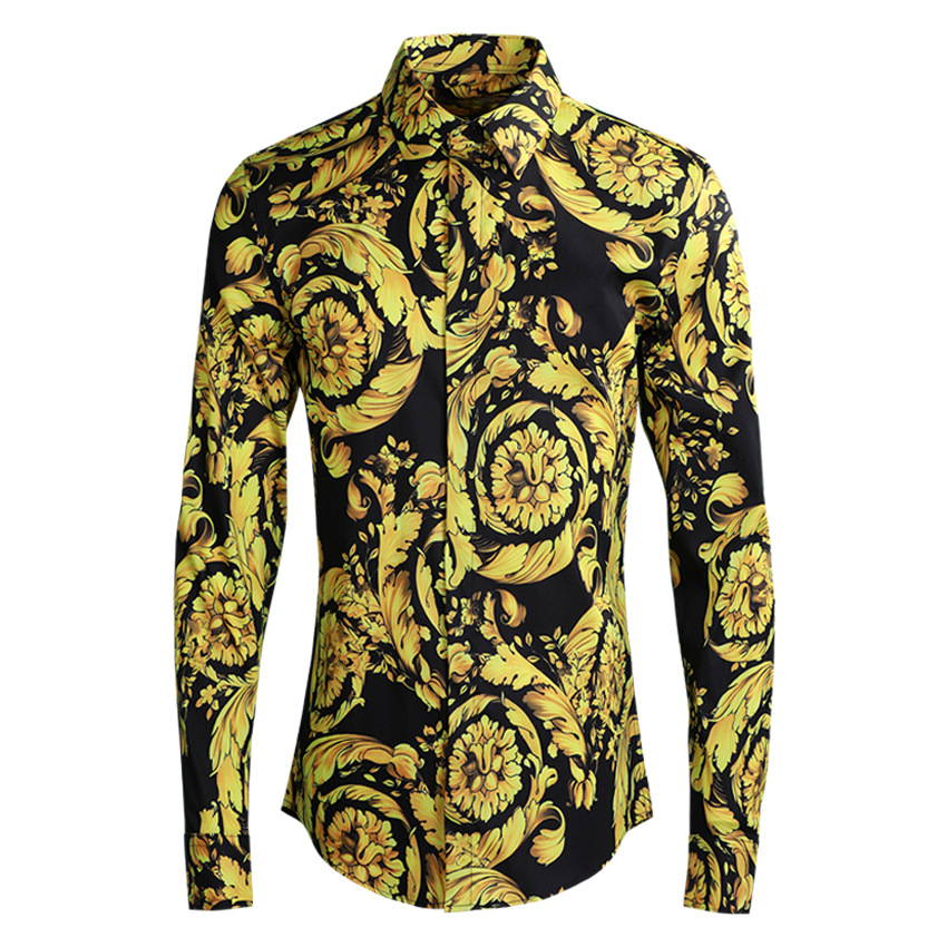New arrival cotton high quality fashion autumn spring Blossom Printing Men long sleeve Casual Shirts plus size ML XL 2XL 3XL 4XL