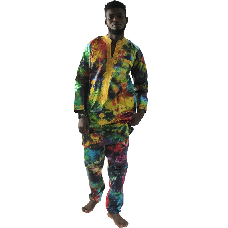 MD African Suits For Men Traditional African Print Cotton Clothes Tops And Pants Sets African Men Clothing Set 2019 Men's Outfit