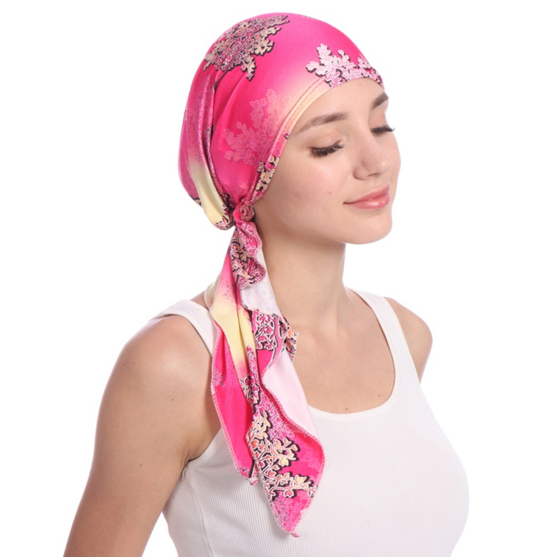 Muslim Women Printed Hijabs Hats Turban Head Scarf Chemo Cancer Cap Hair Loss Hat Long Tail Bow Bonnet Wide Band Wrap Cap New