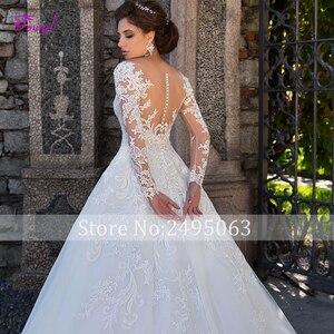 Image 4 - Fmogl חינני אפליקציות ארוך שרוול אונליין חתונה שמלות 2020 Vintage סקופ צוואר כפתור בתוספת גודל הכלה שמלת Vestido דה Noiva