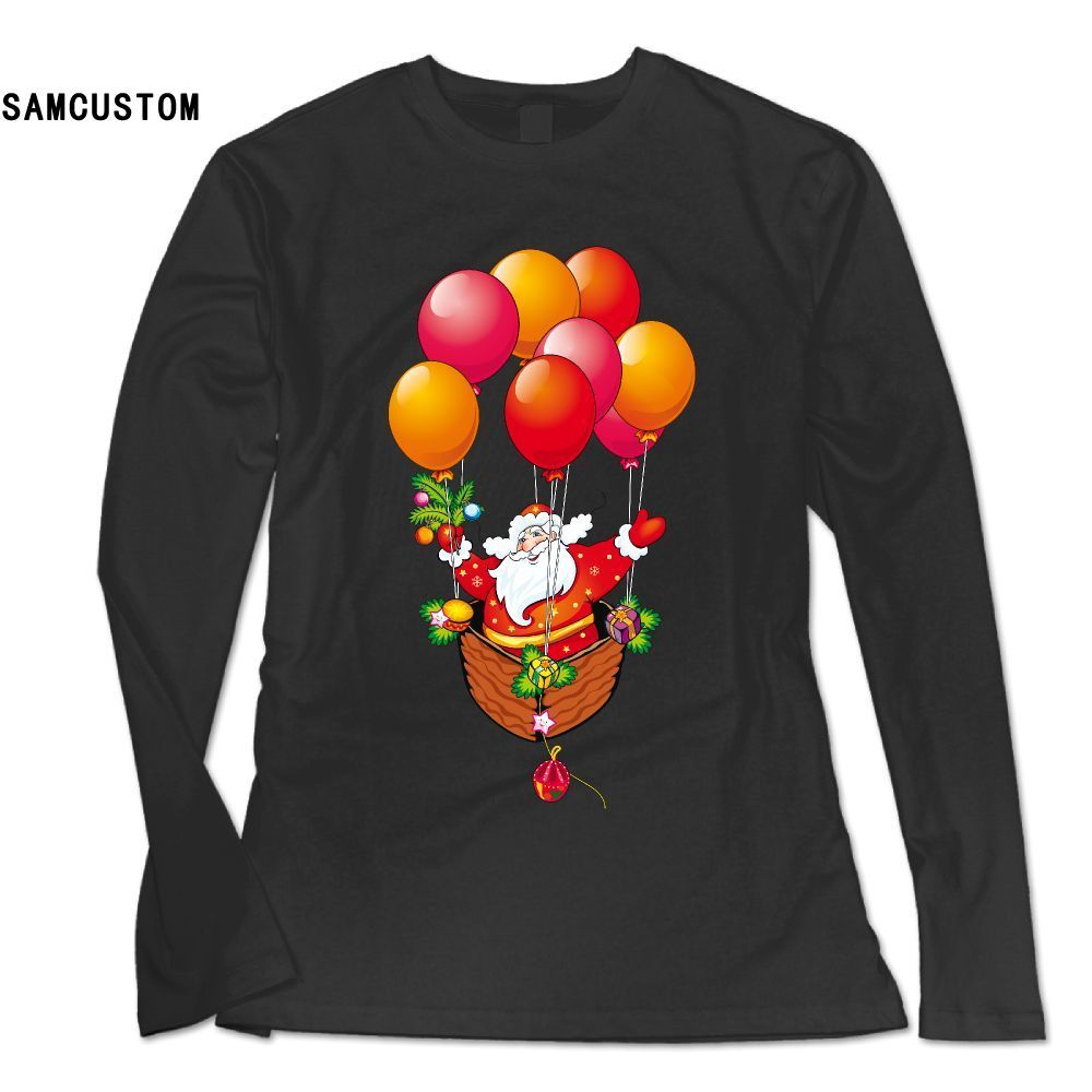 SAMCUSTOM new style Fashion Long Sleeve T Shirt Women Santa Claus Merry Christmas 3D print Personality casual female T-shirt