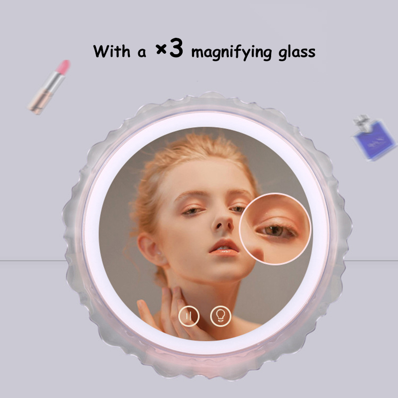 LED Touch Screen Makeup Light Woman Mirror vanity 180 Rotating 3X Magnifying Mirror USB indoor table lamp decor night light