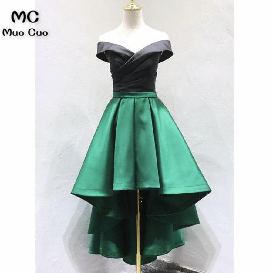 2018 robe haute basse robes de soirée vert et noir robes de retour à manches courtes épaule dénudée robe de soirée formelle