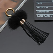 New Leather Tassels With Mink Fur Ball Key Chain With Two Tassels For Car Keychain Bag Key Ring Jewelry EH815(China)