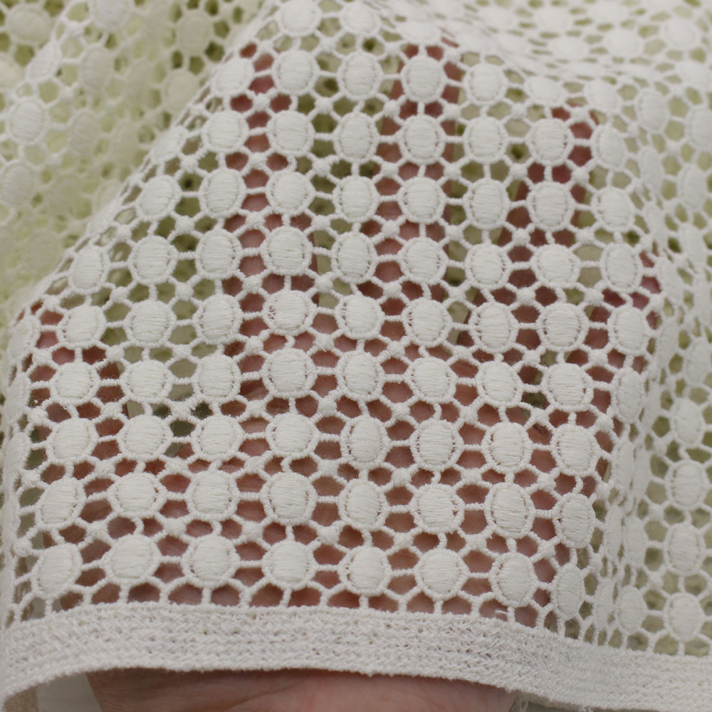 Cotton embroidered fabric sewing heavy lace fabrics tissu for Cotton sewing material