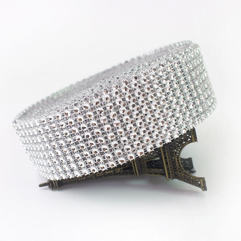 2yards 4cm Bling Diamond Mesh Wrap Ribbon Silver Rhinestone Mesh Roll Home Party Decoration Acrylic Crystal Tape Handmade Craft