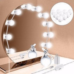 Hollywood Style Makeup Mirror LED Vanity Lights Kit with 10 Dimmable LED Bulb Waterproof Smart Decor for Dressing Table Bathroom