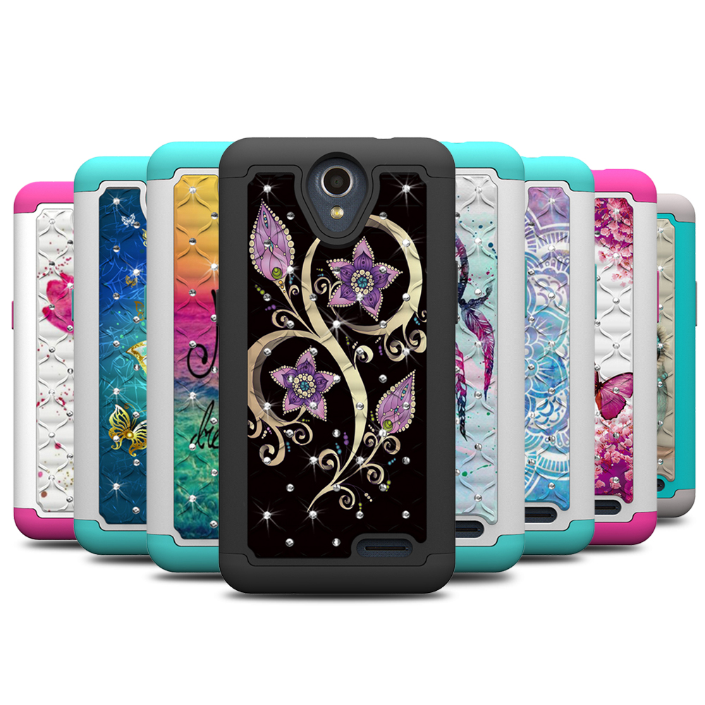 Case for ZTE N9136 Bling Diamond PC Silicone Hybrid Cover for ZTE Prestige 2 N9136 Case for ZTE Prelude Plus Maven 3 Overture 3