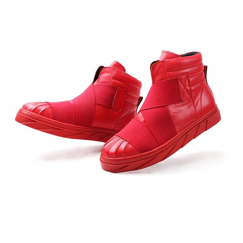 Chaussures Noir Épais Pu Bottes Glissement Hommes Sur Zapatillas Top Mode High Hombre white red En Cuir Mens Solide Fond Black Casual Marque Depritivas qvxAwC