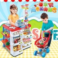 Дети играют любой кухни для маленьких девочек 3 4 5 6 лет супермаркет Игрушка Корзина кассовый аппарат комплект