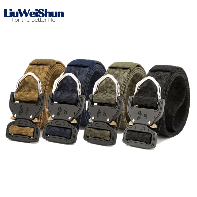 LiuWeiShun Men Military Canvas Tactical Belt Metal insert buckle belts for Men Sturdy Hook Nylon Waistband 3.8cm belt male strap