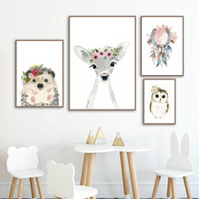Watercolor Deer Hedgehog Owl Nursery Wall Art Canvas Painting Nordic Posters And Prints Pictures Boy Girl Kids Room Decor