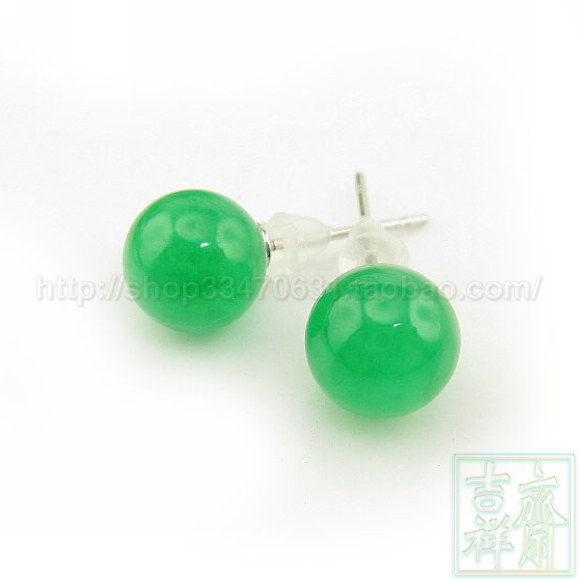 2017 Hot 925 Silver Needles Green Jade Stud Earrings Chinese Men And Women Can Bring