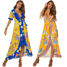 купить New Summer Hot Tribal style High waist printed dress Fashion Personality V collar Sexy Leisure loose Women's embroidered dress дешево