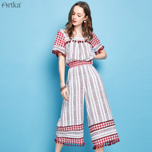 Artka 2019 Summer New Women Suit Square Collar Shirt Elastic Waist Wide Leg Pants Fashion Tassel Striped Set RA10091X