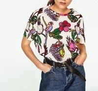 2017 Summer T Shirt Women Multicolor Printed Flowers Bird Cotton Short Sleeve O Neck T Shirt