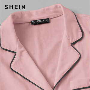 Image 3 - SHEIN Pink Contrast Piping Pocket Front Shirt Pajama Set Short Sleeve Lapel Top With Elastic Waist Shorts Womens Two Piece Sets