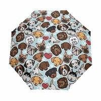 Três dobrável totalmente automático guarda-chuvas feminino sol chuvoso guarda-chuva forte à prova de vento feminino cão família padrão guarda-chuva dropship