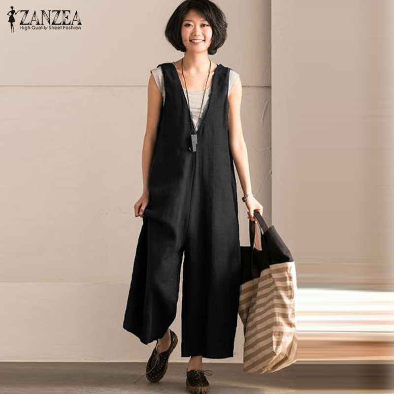ZANZEA Women Bib Overalls Vintage Linen   Jumpsuits   Sleeveless Playsuits Strappy Dungarees Plus Size Rompers Wide Leg Pants 5XL