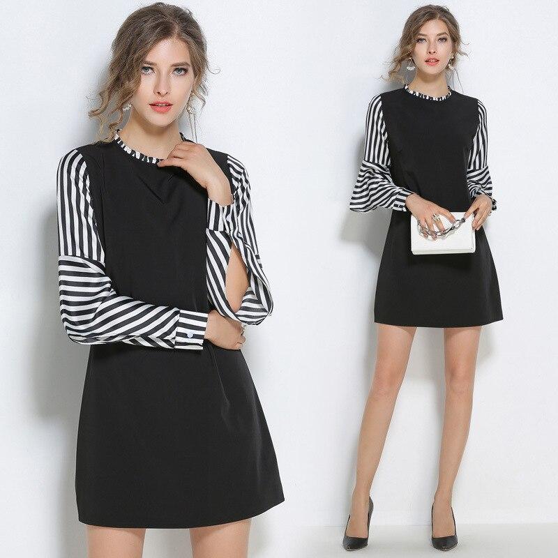 2017 font b women s b font font b clothing b font Fashion round collar stripe